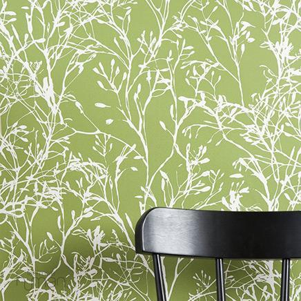 green and white wildflower wallpaper. Black Bedroom Furniture Sets. Home Design Ideas