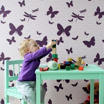 Ferm Living, Butterflies Kids Wallpaper, Wallpaper, Living Green & Modern