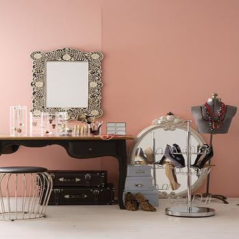 Bone Inlay Mirror, Eclectic, closet