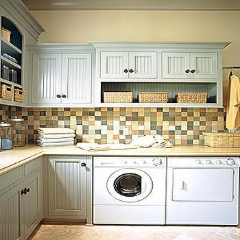 Blue Beadboard Cabinets, Transitional, laundry room