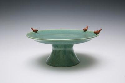 Green Ceramic Cakestand & White Ceramic Two Tier Cake Stand