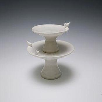 white ceramic two tier cake stand view full size