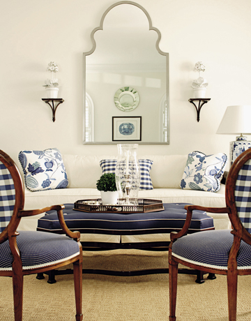 White and navy living room transitional living room house beautiful for Navy blue and white living room