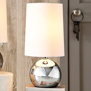 Regina collection chrome base with beige shade table lamp mirrored sphere table lamp aloadofball Gallery