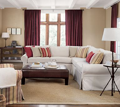 Pottery Barn Basic 2-Piece L-Shaped Sectional view full size. Pottery Barn ... : pottery barn slipcover sectional - Sectionals, Sofas & Couches