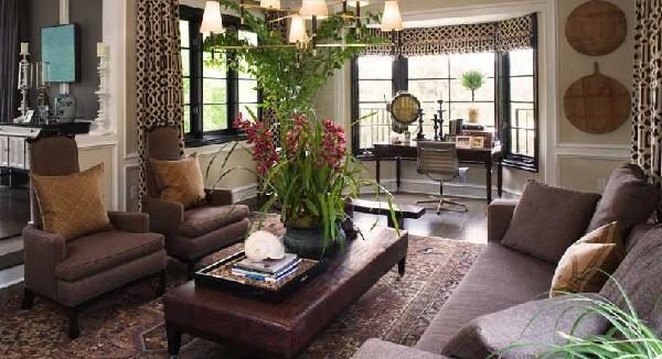 Pleasing Brown Leather Ottoman Coffee Table Mediterranean Living Machost Co Dining Chair Design Ideas Machostcouk