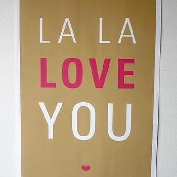 Etsy :: SparklePower :: La La Love You Poster, Brown and Magenta
