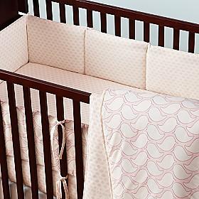 Pink & Aqua Organic Crib Bedding