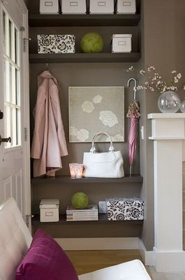 Entry Wall Color Brown Floating dark wood shelves in entry! pink & brown chic foyer design with taupe brown gray paint wall colors!