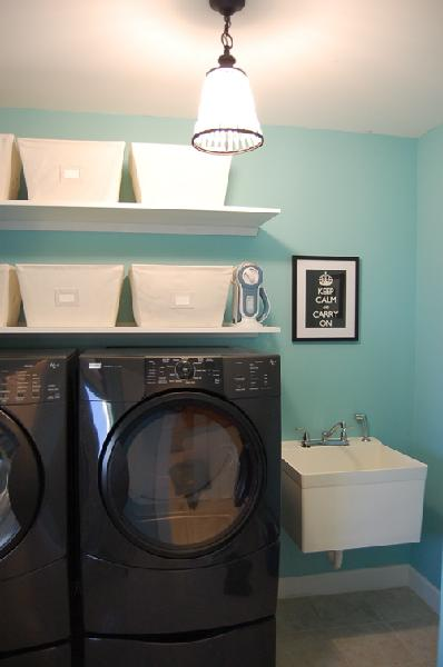 Tiffany blue paint color transitional laundry room benjamin moore waterfall - Utility rooms in small spaces gallery ...