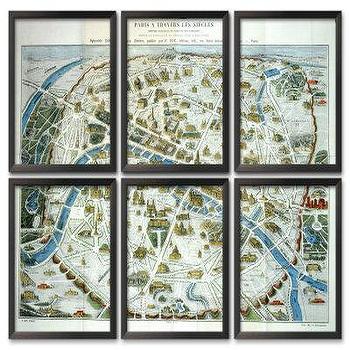 Framed Paris Map Print Triptych Pottery Barn