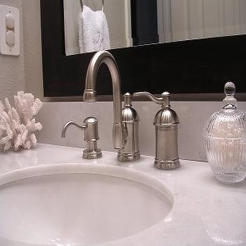 Home Goods Mirror, Transitional, bathroom, Benjamin Moore Revere Pewter, Freckles Chick