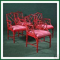 Red Chinese Chippendale Faux Bamboo Armchairs View Full Size