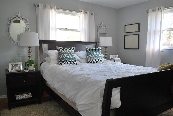 Pintuck duvet contemporary bedroom benjamin moore - Benjamin moore stonington gray living room ...