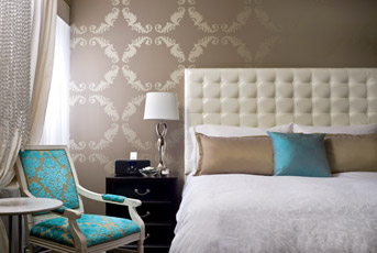 Turquoise damask chair contemporary bedroom for Turquoise wallpaper for bedroom