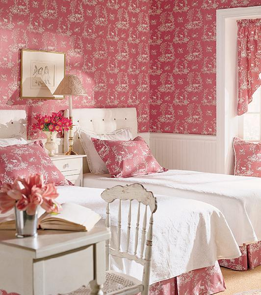 Pink Girl S Room Pink Wallpaper Beadboard White Tufted Twin Beds White Dresser And Desk Chair