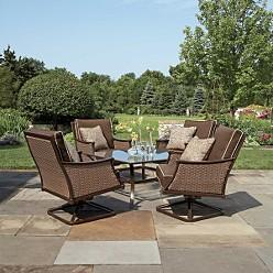 Gold And Beige Bamboo Outdoor Dining Set