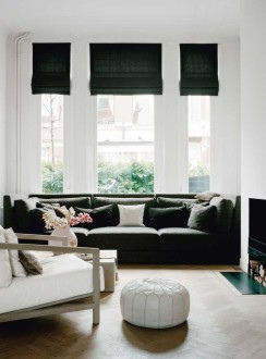 black sofa contemporary living room