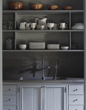 Gray kitchen cabinets country kitchen - Gray painted kitchen cabinets ...