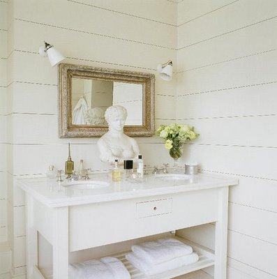 Beau Cottage Bathroom White Wood Paneling In Bathroom! Love The Minimalism Of  This Space: White Sink Vanity With Shelf, Antique White Washed Wood Framed  Mirror, ...