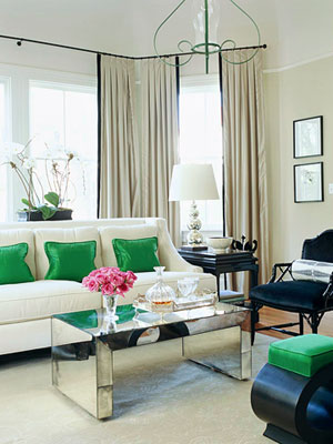 Love The Pops Of Bright Green In This Living Room Space White Modern Furniture With Is Just Lovely