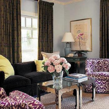 Black velvet sofa design ideas for Black and purple living room ideas