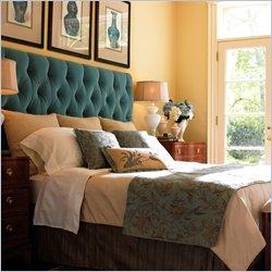 Teal Tufted Headboard, Transitional, bedroom