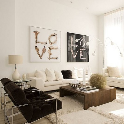 Modern Walnut Coffee Table, Modern Tufted Chocolate Brown Velvet Chairs  With Chrome Steel Base Legs, Sleek Cream Sofas With Fluffy Throw Pillows  And ...