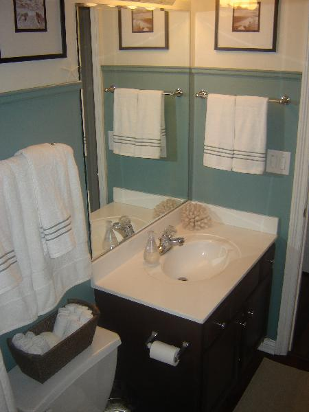 Brown painted cabinets in cottage bathroom behr cloud burst - Painting bathroom cabinets brown ...