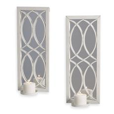 White Metal Wall Sconce with Mirror