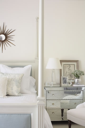Mirror Over Nightstand Contemporary Bedroom The