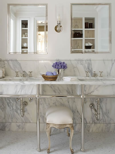 Double marble washstand transitional bathroom phoebe for Marble master bathroom designs