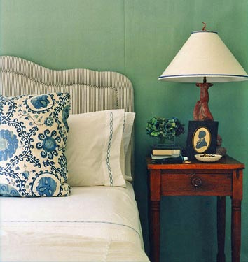cottage bedroom farrow ball blue green annsley interiors