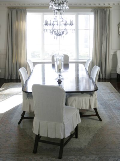 White dining chairs design ideas for Dining room chair cover ideas