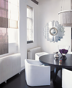White Modern Monochromatic Dining Room Design Love The West Elm Like Dark Wood Round Table With Upholstered Chairs And