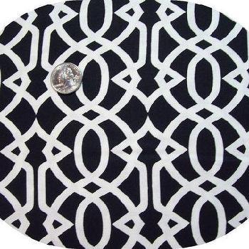 Black and White Trellis Bold Flocked Curtain Panel