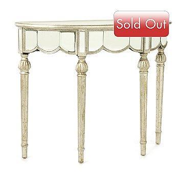 Mirrored Demilune Accent Table ShopNBC.com