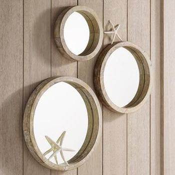 nautical round wood mirrors, west elm
