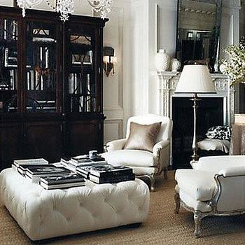 White Tufted Ottoman, Traditional, den/library/office