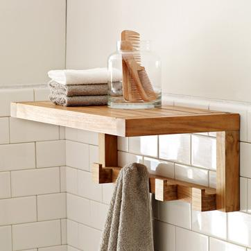 Brown Teak Bath Shelf