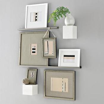 metal picture ledges + ledge picture hangers, west elm