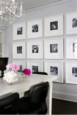 White framed wall dining room for Framed pictures for dining room