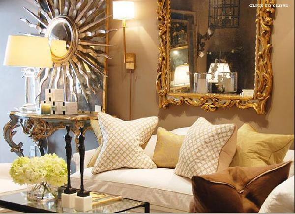 Gold rococo mirror transitional living room Gold accessories for living room
