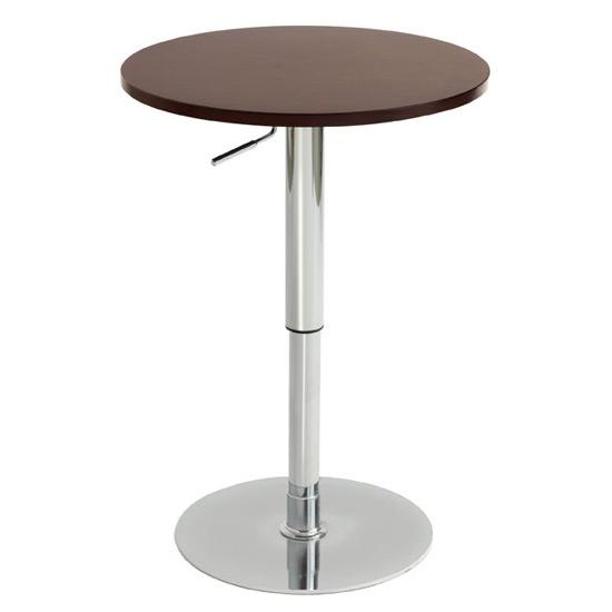 Nero Round Brown Top And Chrome Base Bar Table