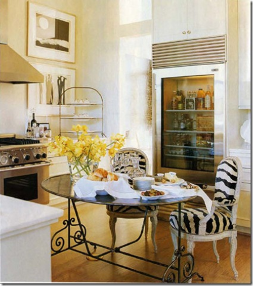 Zebra Chairs Eclectic Kitchen