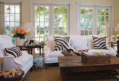 Zebra Pillows Cottage Living Room