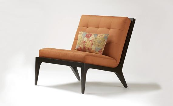 Merveilleux Nest Orange Tufted Modern Armless Chair