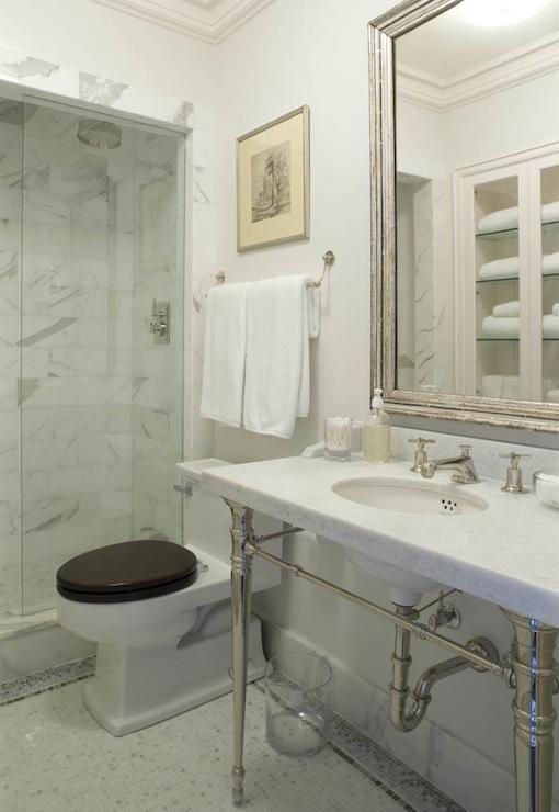 Silver Beveled Mirror Traditional Bathroom James