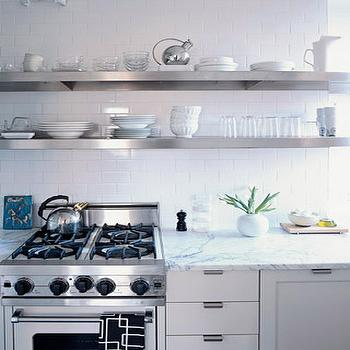 Floating Stainless Steel Shelves Kitchen, Transitional, kitchen