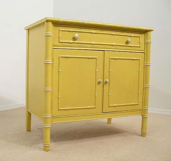 Amazing Yellow Faux Bamboo Cabinet Console Hollywood Regency